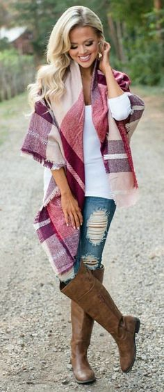#fall #outfits women's red and brown scurf