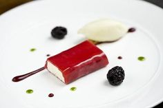 Pastry Kitchen-machego cheesecake with raspberry sheet and apple sorbet