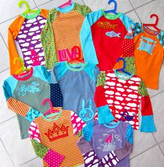 Farbenmix t-shirts, great way to use small pieces of knit fabric !