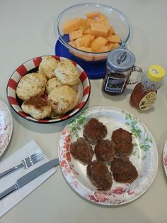 Sausage biscuits with cantaloupe