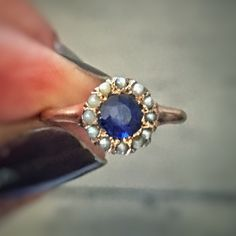 Red, White and BLUE. You might think this is a sapphire. Fooled ya'. It's a blue garnet and seed pearls. And it's about 150 years old, was a woman's engagement ring and is 10% off this weekend along with everything else in the shop. Use code MEMDAY10 at checkout. www.katiecallahanandco.com/shop