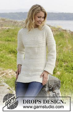 """Elinor Dashwood Cardigan - Knitted DROPS jacket with round yoke and textured pattern, worked top down in """"Alaska"""". Size: S - XXXL. - Free pattern by DROPS Design Drops Design, Knitting Patterns Free, Knit Patterns, Free Knitting, Top Pattern, Free Pattern, Top Down, Magazine Drops, Aran Weight Yarn"""