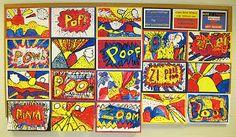 Roy Lichtenstein--Primary colors, paint stamping.  Zip, Zap, Zoom, Boom, Pop, Pow!