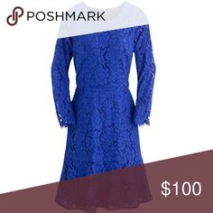 J Crew Royal blue long sleeve lace dress SZ 4 New! Purchased for a wedding and ended up wearing something else. Beautiful dress. Retails $178. From J Crew store, not outlet. J. Crew Dresses