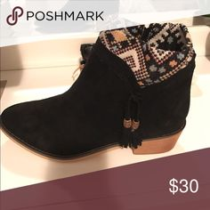Size 9, Mimi Booties Never worn. Bought on sale, and can't return. Suede boots with detail on the ankle. Side zipper Shoes Ankle Boots & Booties