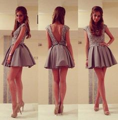 Sexy A-Line Jewel Backless Satin Short Grey Homecoming/Prom Dress With Beaded
