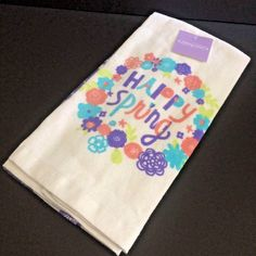 Dish Towels Happy Spring Flowers Pastels Purple Fresh Kitchen Springtime set 2 #HOlidayHome #ebayrocteam