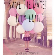 """Save the Date!  Join me July 11th @ 7pm PST for my first Posh Party!!                                                                                       Help me spread the good news & recommend New and Fab, Posh Compliant closets!  Please nominate closets for a host pick!    I am looking for:  Posh Compliant Closets  Clean, Clear and Creative Covershots!   New Closets, or active Poshers who have never received a """"Host Pick""""  Great Posh Mentors Other"""