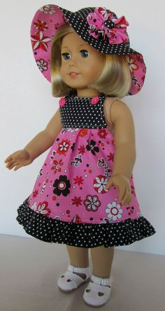 18 Inch American Girl Doll Clothes Sundress I've always wanted to get one of… - American Girl Dolls American Girl Outfits, Ropa American Girl, American Girl Dress, American Doll Clothes, American Dolls, Sewing Doll Clothes, Sewing Dolls, Girl Doll Clothes, Doll Clothes Patterns
