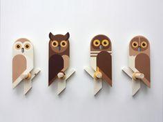 Owlets, wooden wall hooks