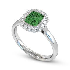Ethical Brazilian Emerald and Diamond Cluster Engagement Ring