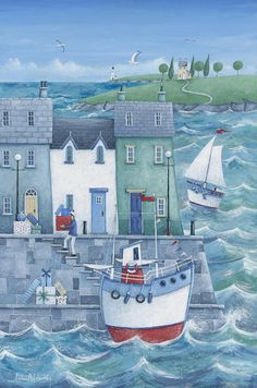 Shop Harbour Gifts Poster Print by Peter Adderley. One of many items available from our Posters, Prints, & Visual Artwork department here at Fruugo! Art And Illustration, Illustrations, Seaside Art, Beach Art, Fine Art Prints, Canvas Prints, Art Brut, Naive Art, Art Pictures