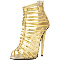 Giuseppe Zanotti Mirrored Peep-Toe Cage Bootie found on Polyvore