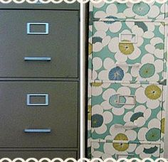 take a boring, scratched up metal file cabinet and add some wallpaper or modge podge on some scrapbook paper or photos and voila! a beautiful and decorative piece of furniture