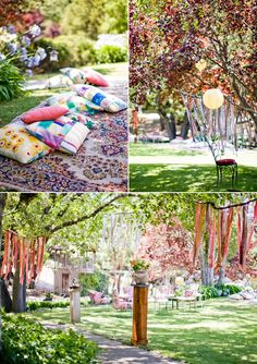 So I seem to be leaning toward a more boho style - outdoors, blankets and natural decor, bright colours. Love the idea of late September, ribbons in tress, and lots of colorful pillows.