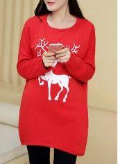 Reindeer Print Maternity T Shirt for Christmas