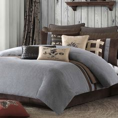 idea for Alex's Room (not the cabin accessories!) Woolrich Brownstone Bedding Collection - Online Only King Comforter Sets, Bedding Sets, Rustic Bedding, Lodge Decor, Le Far West, Cozy Bed, Log Homes, Bedding Collections, Home Furnishings