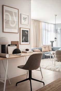 COCO LAPINE DESIGN - Page 5 of 317 -COCO LAPINE DESIGN » Page 5 Home Office Design, Home Office Decor, Home Decor, Beige And Grey Living Room, Architecture Design, Desk In Living Room, Dining Room, Beige Curtains, Sweet Home