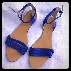 Zara Blue Silk Satin Ankle Strap Sandals Flat crossover sandals from the spring/summer collection - only wear is on bottoms and it is more discoloration than serious damage. Zara Shoes Flats & Loafers
