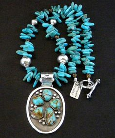 This appealing Necklace features a 5-Stone Kingman Turquoise and Sterling Silver Oval Pendant by Nevada Silversmith Jim Daggett. Kingman Turquoise is from the Mineral Park Mine in northwestern Arizona