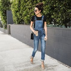 Pin for Later: 32 Lazy but Stylish Outfit Ideas For the Days You Just Don't Feel Like Trying A Cropped Black Tee, Skinny Overalls, and Sandals