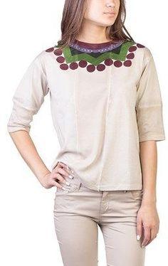 Prada Women's Cotton Geometric Print T-shirt Tan.