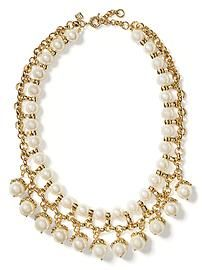 Golden Pearl Charm Necklace