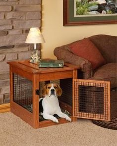 Amish Made Dog Crate End Table | Creative Indoor Crates and Beds | Amish Made Dog Supplies 12774