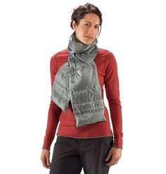 Down scarf with a hidden pocket to double as hand warmers