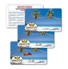 Lenticular calendar card with palm trees, umbrella, and lawn chair appear on a tropical Hawaiian beach, flip | Lantor, Ltd.: With low Lenticular Printer Prices, CA01-204 makes a great tropical-themed promotional product. The calendar card's face features a flip effect of an umbrella and chairs appearing on a tropical beach. See more at: http://www.lenticularpromo.com/Calendar-Card-p/ca01-204.htm#sthash.CZVDNPfw.dpuf