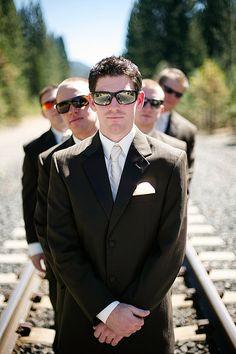 Groom Groomsmen Wedding Party Group Photo Train Tracks