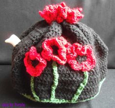 Hand crochet Poppies tea cosy  by QuirkyPurple