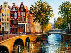 Netherlands Holland Cityscape Wall Art Print On Canvas Art By Leonid Afremov Studio - The Gateway To Amsterdam Oil Painting On Canvas, Painting Prints, Canvas Wall Art, Wall Art Prints, Canvas Prints, China Painting, Cross Paintings, Original Paintings, Cheap Paintings
