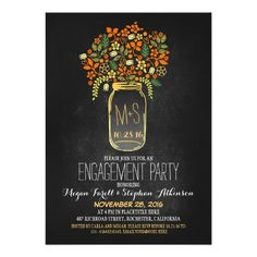 mason jar chalkboard engagement party invitation