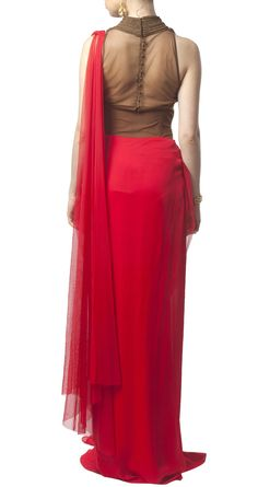AMIT AGGARWAL Red pre-draped sari and blouse inspiration