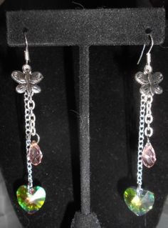 Pewter Butterfly swarovski heart earrings.  Silver by Purrwoof, $6.00