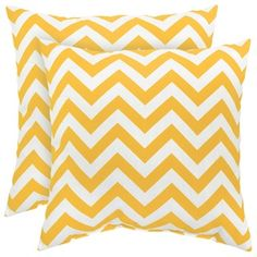 17-inch Outdoor Zig Zag Yellow Square Accent Pillow (Set of 2) - Overstock™ Shopping - Big Discounts on Outdoor Cushions & Pillows