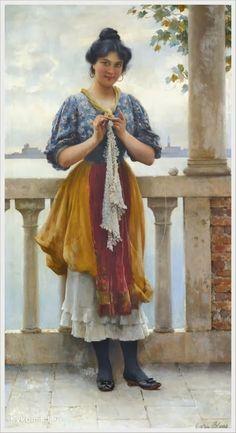 Francois Alfred DeLobbe (French, 1835-1920) «Jeunes Dentellieres de Beuzec-Conq» 1905