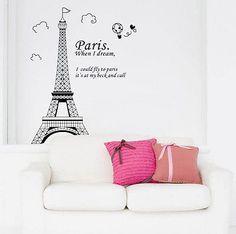 Bedroom Home Decor Removable Paris Eiffel Tower Art Decal Wall Sticker Mural DIY