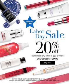 STARTING NOW LABOR DAY SALE GO TO www.youravon.com/mkrawitz TO GET 20% OFF ANY $60.00 ORDER PLUS FREE SHIPPING USE CODE SITEWIDE ENDS MIDNIGHT 9/7/15..