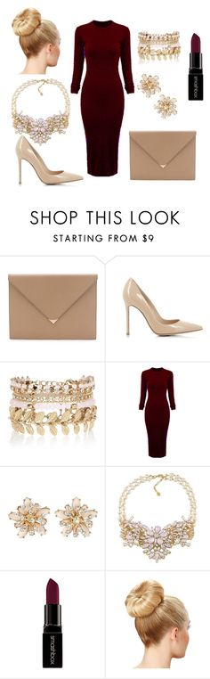 """""""red_lady"""" by ermina-l ❤ liked on Polyvore featuring Alexander Wang, Gianvito Rossi, River Island, WithChic, Carolee, Smashbox, women's clothing, women, female and woman"""