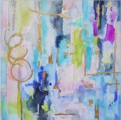 blue watercolor walls | Blue Aqua Abstract Watercolor Print , Wall Art, Giclee, Blush & Shadow ...