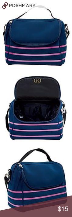 7155abacdb3e Cynthia Rowley Navy Blue   Pink Stripes Lunch Bag