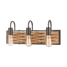 The Weaverton bath bar has an intricate rope-weaved frame which integrates texture into the structure of the light fixture. The Oil Rubbed Bronze finish complements the rustic attributes of the natural rope.