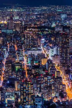 Osaka vista nocturna, Japón | observatorio Takahiro Bessho Abenobashi Edificio Terminal
