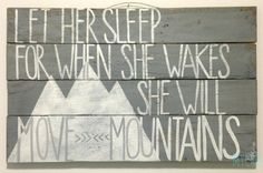 Let Her Sleep quote handpainted on upcycled pallet by MyCRO