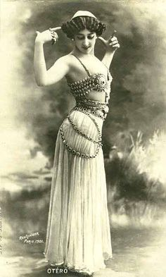 """La Bella Otero"" (The beatiful Otero),  disguished as a belly dancer  Paris, 1901"