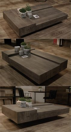 TRIPLÉ wooden handmade low rectangular coffee table by Didier Cabuy