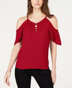 Petite Lace-Up Cold-Shoulder Top, Created for Macy's - Magenta Flame Plus Size Designers, Plus Size Shopping, Baby Clothes Shops, Trendy Plus Size, Work Wear, Lace Up, Cold Shoulder, Women, Style