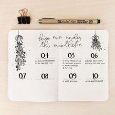 Bullet journal weekly layout, monochromatic layouts, Christmas drawings, mistletoe drawings, minimalist date headers. @journautical